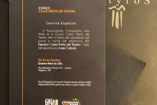 Chegou o convite para a inauguração do Espaço Caixa Preta de Teatro – Sala Ivam Cabral